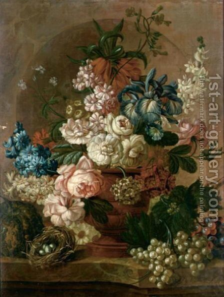 Still Life With Various Flowers In A Terracotta Urn, Together With Bunches Of Grapes, A Melon And A Bird's Nest, In A Stone Niche by A. Van Jongere - Reproduction Oil Painting