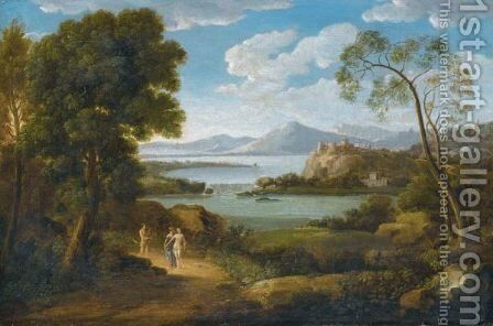 A Classical River Landscape With Three Figures On A Path, A Hilltop Town In The Distance by Hendrik Frans Van Lint - Reproduction Oil Painting