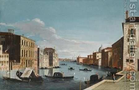 Venice, A View Of The Grand Canal, Looking East, From The Campo Di San Vio by (after) The Master Of The Langmatt Foundation View Domenichini - Reproduction Oil Painting
