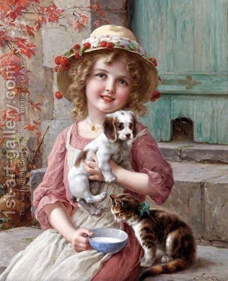 New Friends by Emile Vernon - Reproduction Oil Painting