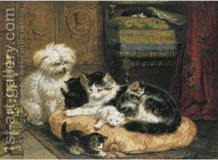 A Cat With Her Four Kittens With A Friendly Dog by Henriette Ronner-Knip - Reproduction Oil Painting