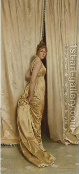 The Yellow Dress by Charles Joseph Frederick Soulacroix - Reproduction Oil Painting