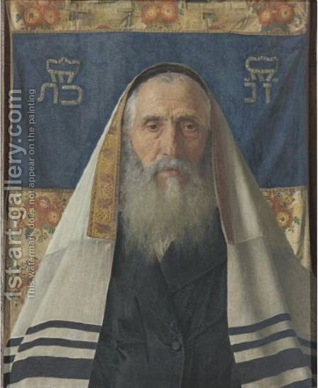 Rabbi With Prayer Shawl by Isidor Kaufmann - Reproduction Oil Painting