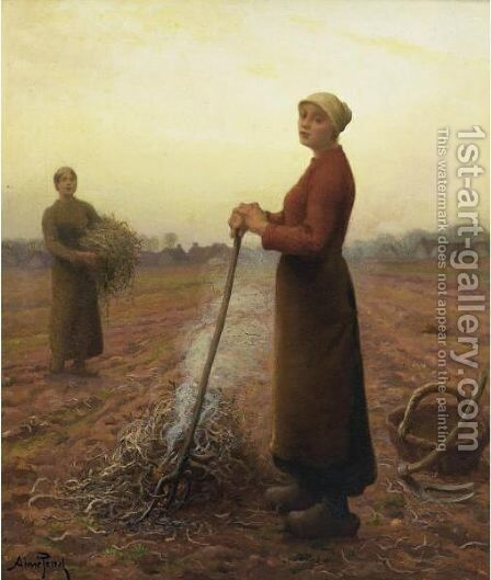 Peasant Girls In The Fields by Aime Perret - Reproduction Oil Painting