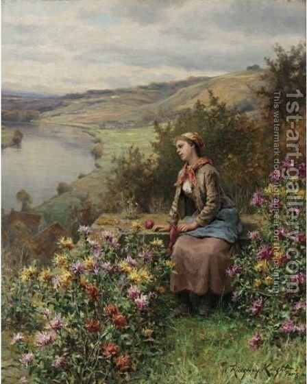 Daydreaming 2 by Daniel Ridgway Knight - Reproduction Oil Painting