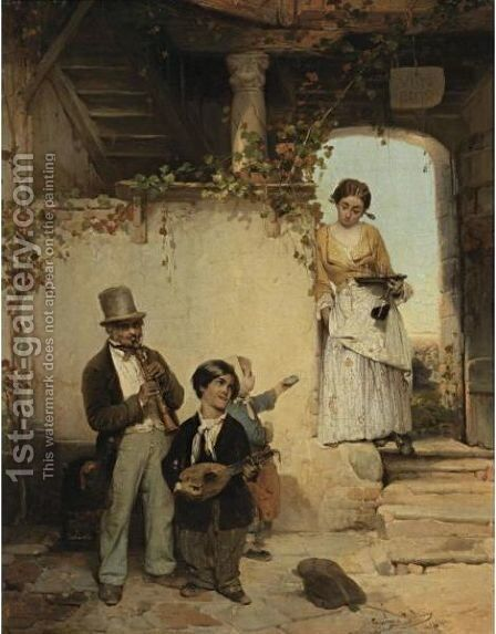 Strolling Players by Girolamo Induno - Reproduction Oil Painting