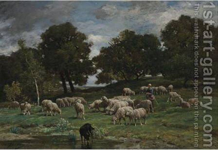Shepherdess And Her Flock 2 by Charles Émile Jacque - Reproduction Oil Painting