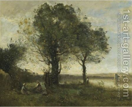 Brume Matinale Au Marais by Jean-Baptiste-Camille Corot - Reproduction Oil Painting