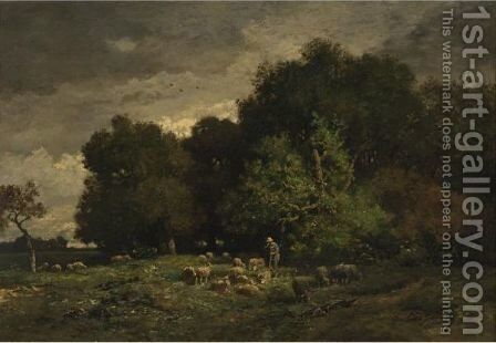 A Shepherd With His Flock 2 by Charles Émile Jacque - Reproduction Oil Painting