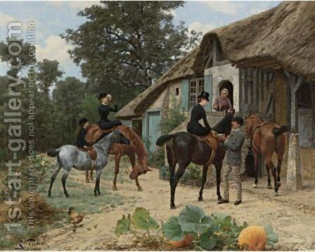 A Rest From The Ride by Jean Richard Goubie - Reproduction Oil Painting