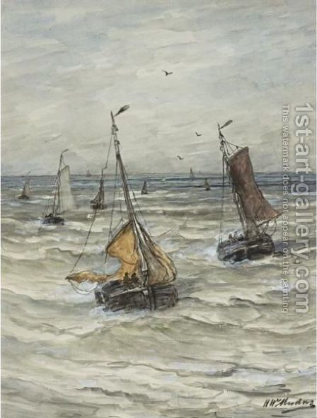 Sailboats On A Choppy Sea by Hendrik Willem Mesdag - Reproduction Oil Painting