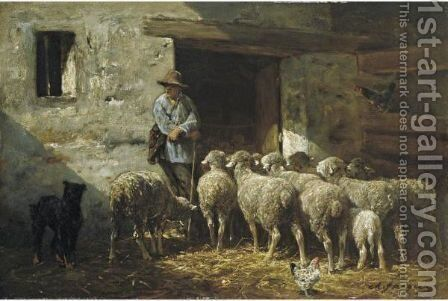 The Shepherd by Charles Émile Jacque - Reproduction Oil Painting