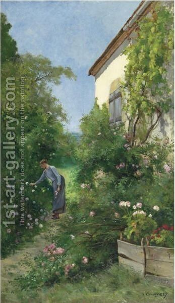 French In The Garden by Marie Emmanuel Gustave Comoy - Reproduction Oil Painting