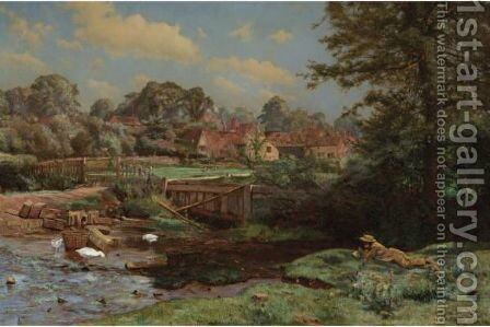 Watercress Gathering At Abinger Hammer, Surrey by Charles Ernest Butler - Reproduction Oil Painting