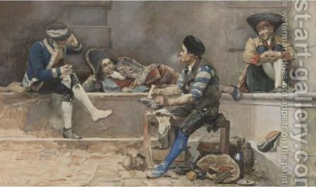 Madrid, El Zapatero by Jehan Georges Vibert - Reproduction Oil Painting