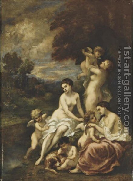 Nymphs And Putti In A Wood by Narcisse-Virgile Díaz de la Peña - Reproduction Oil Painting