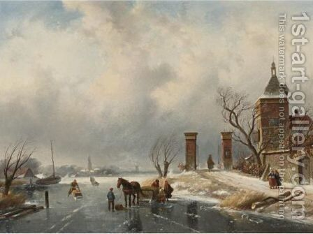 Skaters And Sleds On A Frozen River by Charles Henri Leickert - Reproduction Oil Painting