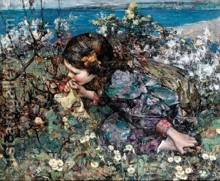 Among The Primroses by Edward Atkinson Hornel - Reproduction Oil Painting