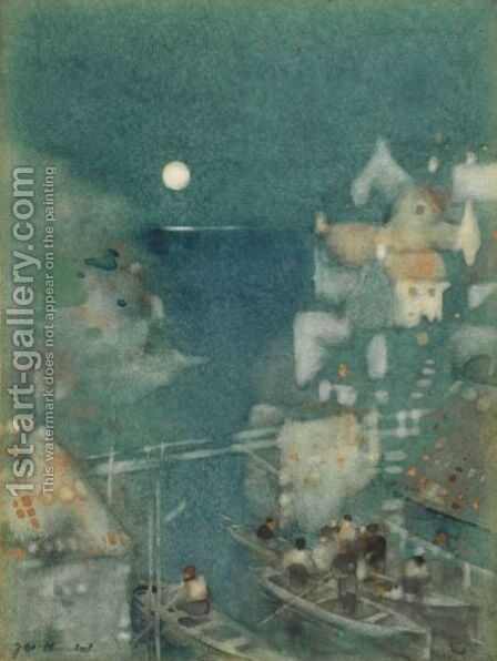 Harbour By Moonlight by James Watterston Herald - Reproduction Oil Painting