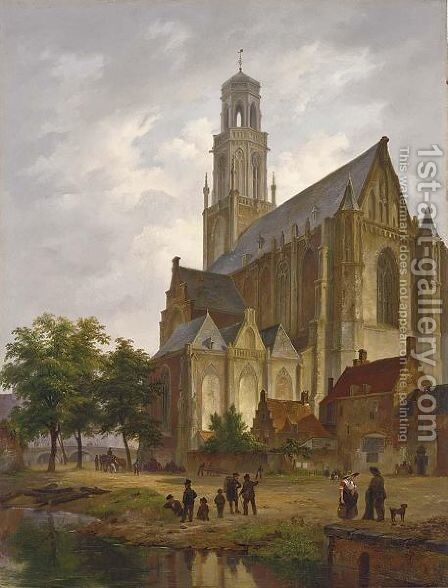 Figures Near A Church In A Dutch Town by Bartholomeus Johannes Van Hove - Reproduction Oil Painting
