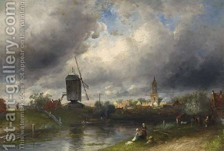 Washer Women On The Waterfront, A Town In The Distance by Charles Henri Leickert - Reproduction Oil Painting