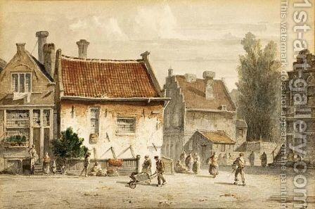 Figures In A Dutch Town 2 by Adrianus Eversen - Reproduction Oil Painting