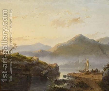 Figures Unloading A Sailing Vessel In A Mountainous Landscape by Andreas Schelfhout - Reproduction Oil Painting