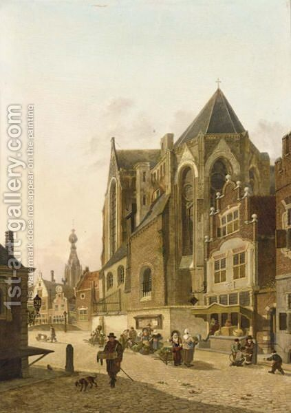 Figures In The Streets Of A Dutch Town by Jan Hendrik Verheijen - Reproduction Oil Painting