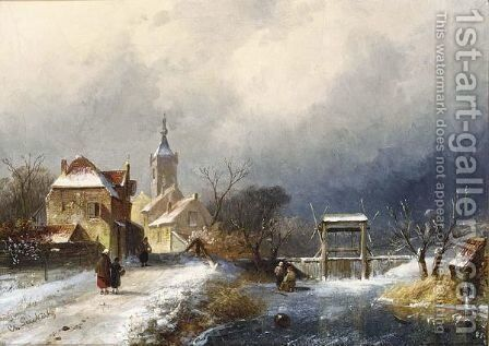 A Winter Landscape With Figures Near A Village by Charles Henri Leickert - Reproduction Oil Painting