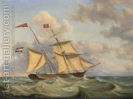 The Theodora Josina At Full Sea by Casparus Johannes Morel - Reproduction Oil Painting