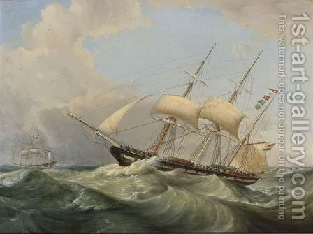 Shipping At Rough Seas by Casparus Johannes Morel - Reproduction Oil Painting