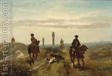 Two Land Owners At The Border Marks Of Their Estates by Charles Rochussen - Reproduction Oil Painting