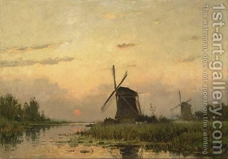 Windmills At Dawn In A Summer Landscape by Petrus Paulus Schiedges - Reproduction Oil Painting