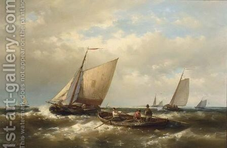 Fishing Boats In Choppy Seas by Abraham Hulk Jun. - Reproduction Oil Painting