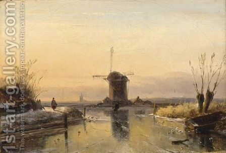 Figures In A Winter Landscape, A Windmill In The Distance by Jan Jacob Coenraad Spohler - Reproduction Oil Painting