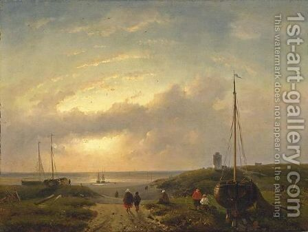 A Beach Scene At Dusk by Charles Henri Leickert - Reproduction Oil Painting