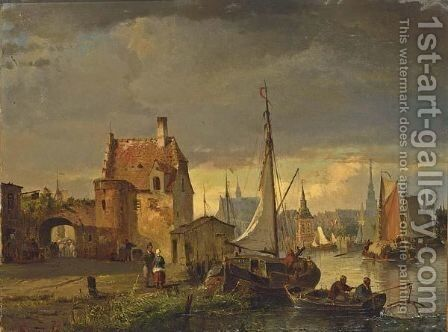 A View Of A Town On The Waterfront by Carl Frederik Sorensen - Reproduction Oil Painting