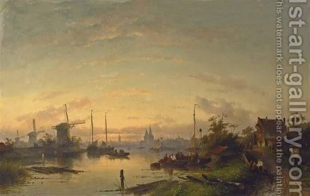 A River Scene At Dusk, Windmills In The Distance by Charles Henri Leickert - Reproduction Oil Painting