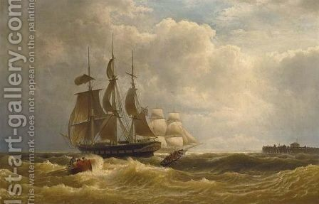Tall Ships Off The Coast by Hermann Mevius - Reproduction Oil Painting