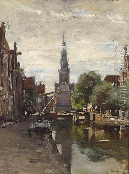 A View Of Alkmaar by Jan Hillebrand Wijsmuller - Reproduction Oil Painting