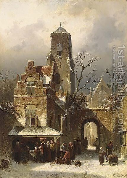 A Market Scene In A Wintry Dutch Town by Charles Henri Leickert - Reproduction Oil Painting