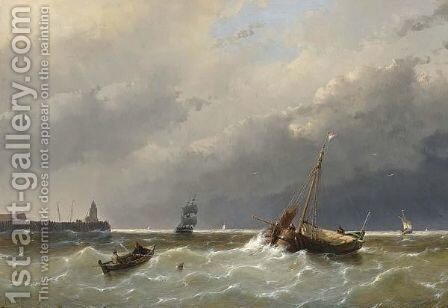 Shipping Off The Coast, Scheveningen by Andreas Schelfhout - Reproduction Oil Painting