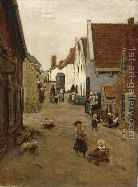 AView Of A Street In Zandvoort by Max Liebermann - Reproduction Oil Painting