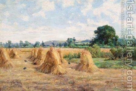 Wheatfield, Wiltshire by Arthur Boyd Houghton - Reproduction Oil Painting