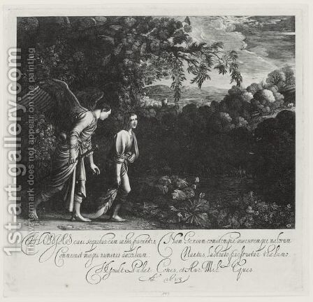 Tobias With The Angel Dragging The Fish (Hollstein 2) by Hendrik Goudt - Reproduction Oil Painting