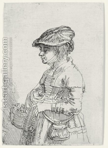 Girl With A Basket by Rembrandt - Reproduction Oil Painting