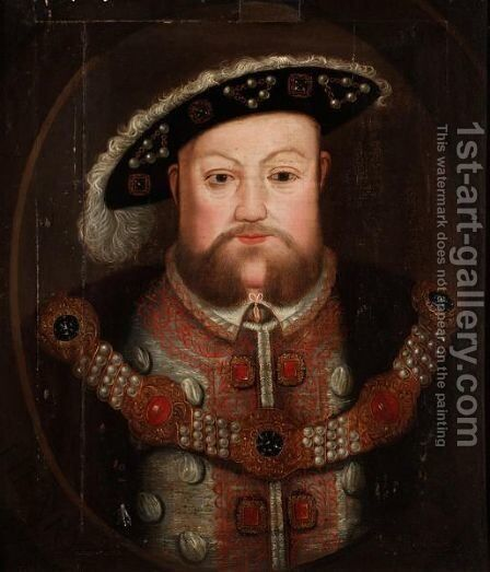Portrait Of King Henry VIII 2 by (after) Holbein the Younger, Hans - Reproduction Oil Painting