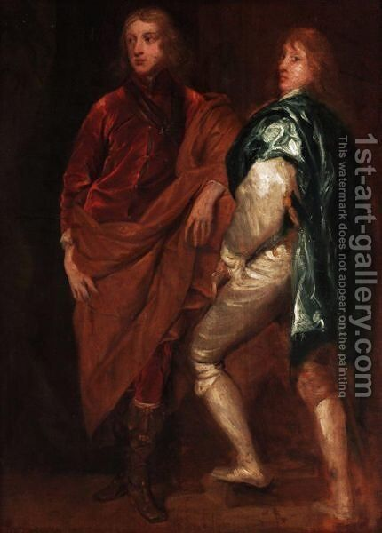 Double Portrait Of Lord John Stuart With His Brother, Lord Bernard Stuart, Later Earl Of Lichfield by (after) Dyck, Sir Anthony van - Reproduction Oil Painting