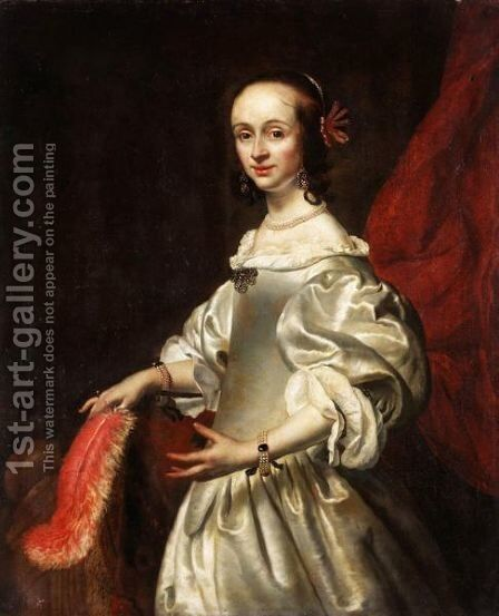 Portrait Of A Lady, Said To Be Susannah Glyn, Nee Lewen Of Ewell, Surrey by (after) Dyck, Sir Anthony van - Reproduction Oil Painting