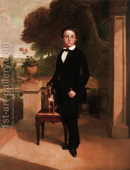 Portrait Of A Young Boy And His Companion by (after) Sir Francis Grant - Reproduction Oil Painting